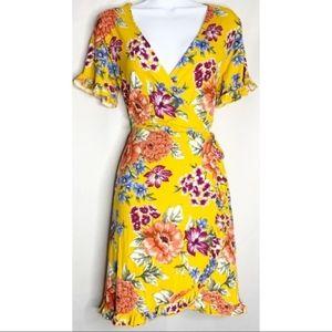 F21 mustard yellow floral mini dress 0x